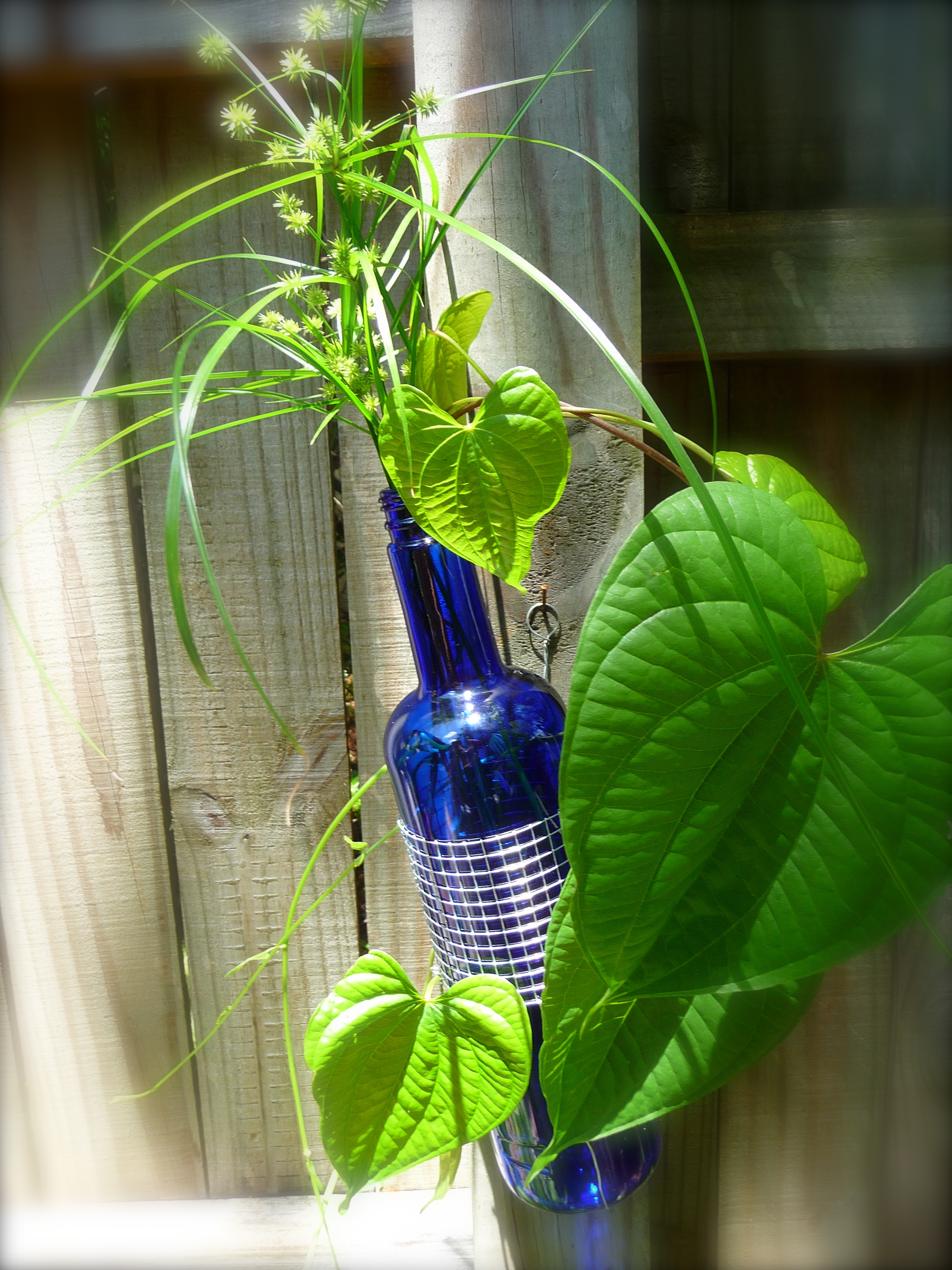 cobalt blue glass and metal wine bottle vase craft organic