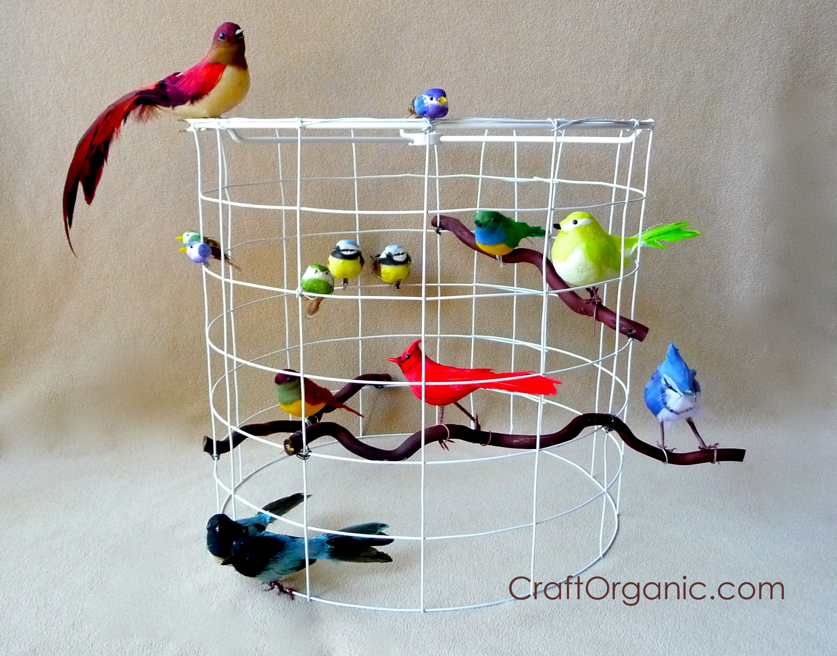 Diy bird cage themed lamp shade craft organic add birds keyboard keysfo Images