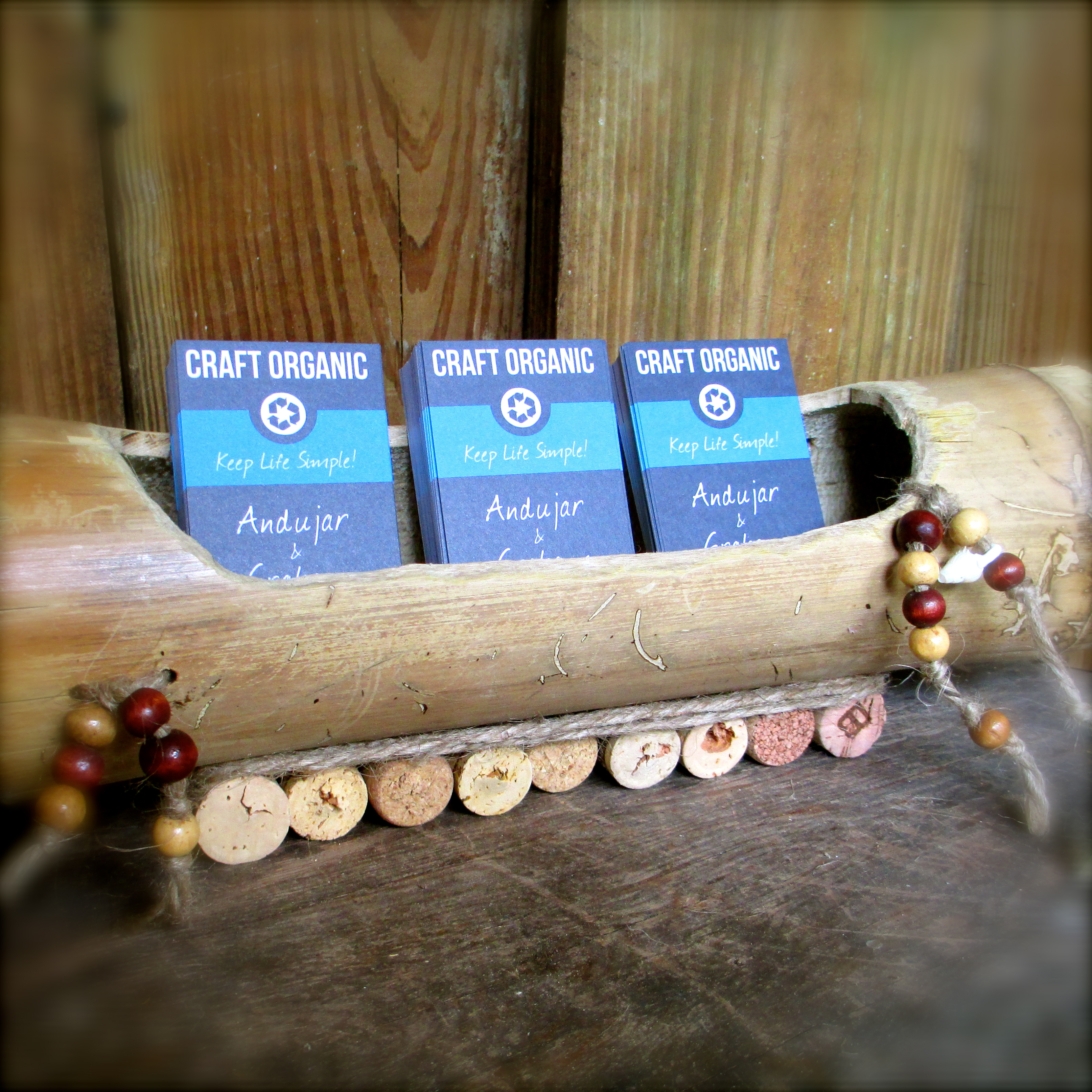 simple bamboo business card holder